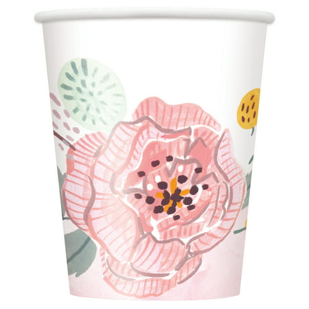 Soft Pink Painted Floral Paper Cups, 9 oz, 8ct (Paper Source Valentines Day)