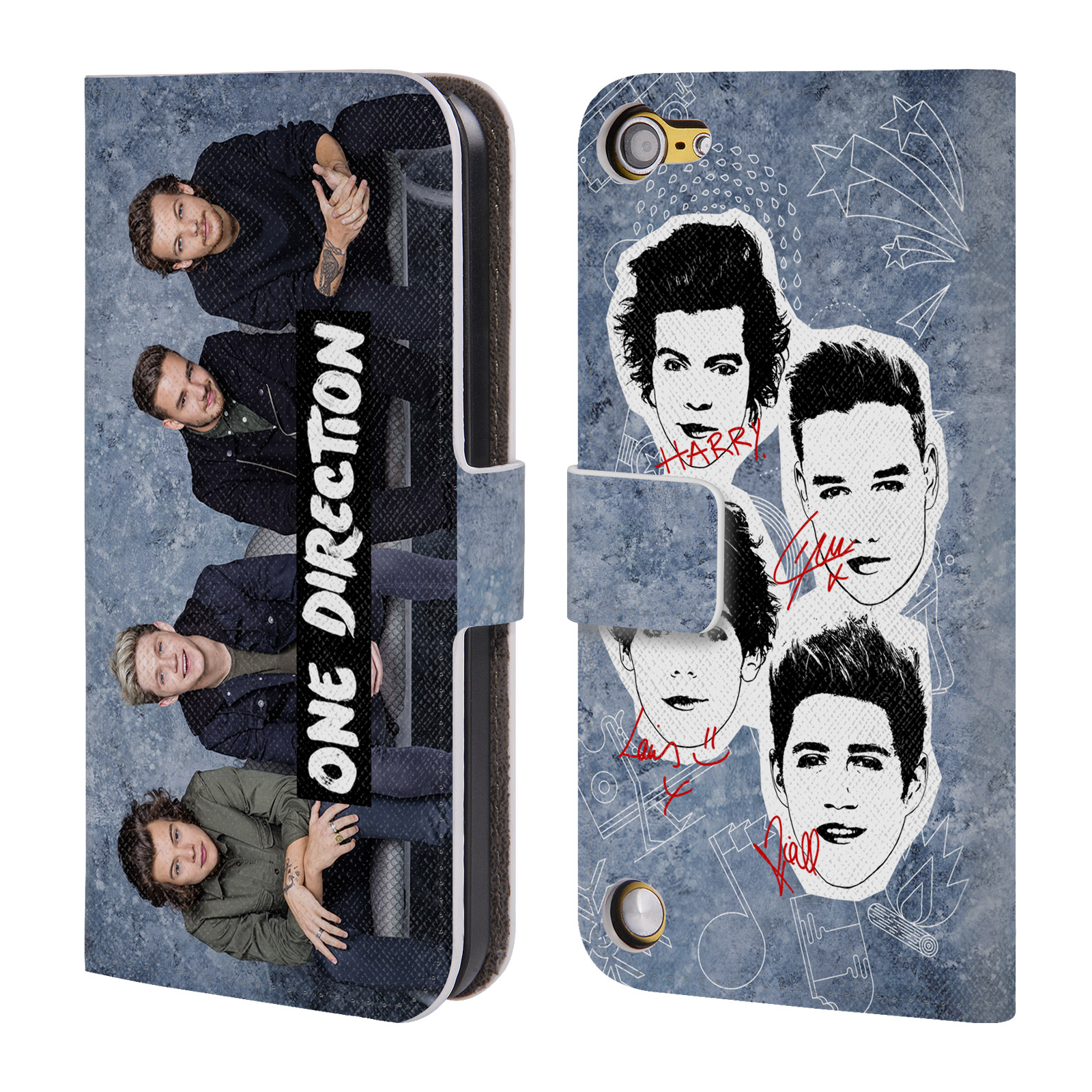 OFFICIAL ONE DIRECTION GROUP PHOTO SOLO LEATHER BOOK WALLET CASE COVER FOR APPLE IPOD TOUCH MP3