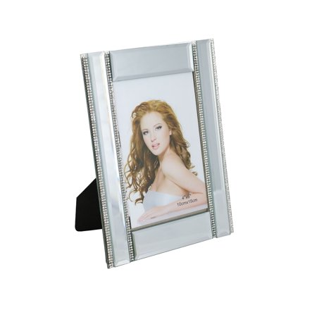 """Rectangular Mirror Picture Frame With Four Thin Vertical Crystal Strands, 4"""" x 6"""" Frame"""