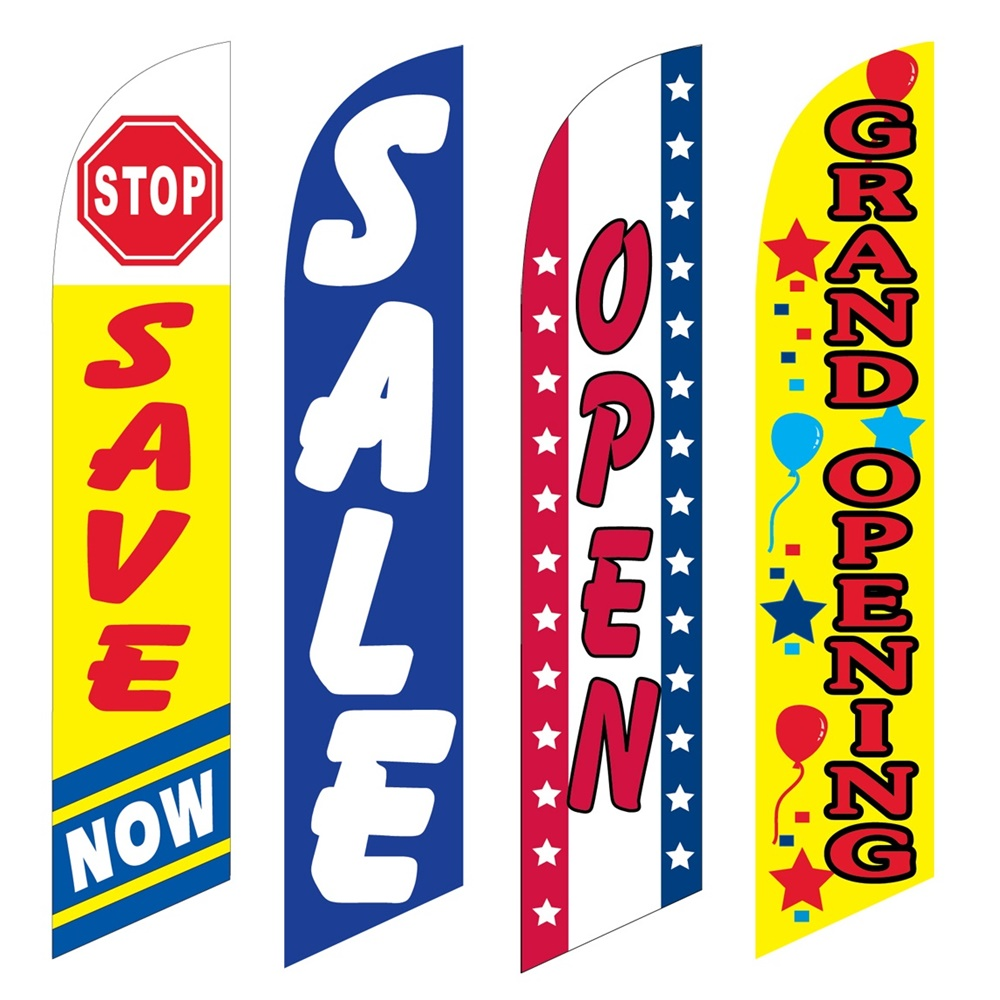 4 Advertising Swooper Flags Stop Save Now Sale Open Grand Opening
