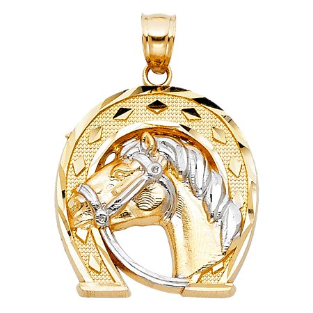 14K Two Tone Gold Lucky Horseshoe Charm Pendant For Necklace or Chain (Two Tone Horseshoes Charm)