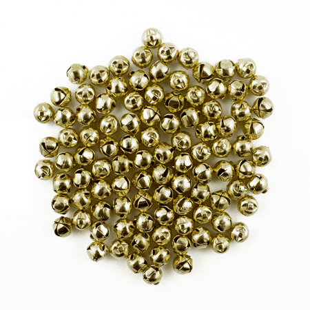 6mm Tiny Miniature Gold Craft Jingle Bells Charms 100 Pieces