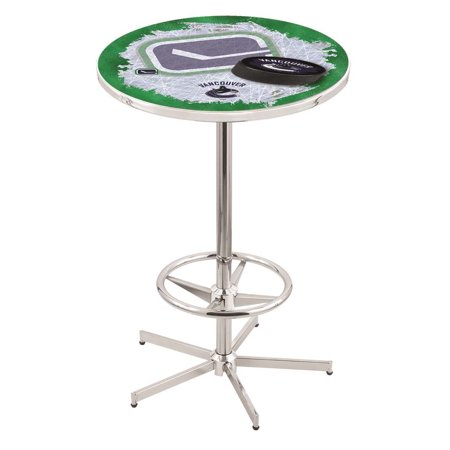 Vancouver Canucks 42 Inch High, 36 Inch Top Chrome L216 Pub Table