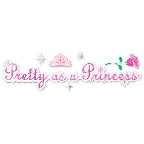 """Disney Title Stickers 1.5""""X5.5""""- Pretty As A Princess"""
