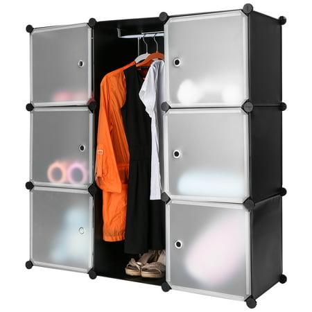 Langria 9 Cube Black Interlocking Modular Storage Organizer Shelving System Closet Wardrobe Rack With Translucent White Doors