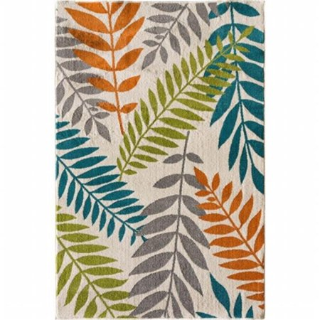 Central Oriental Polyester - Central Oriental 2304NI71.084 Terrace Tropic 084 Blythewood 100 Percent Heat Set Polypropylene Rug, Snow & Multi Color - 6 ft. 7 in. x 9 ft. 6 in.