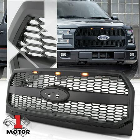 - Matte Black Honeycomb Mesh Front Bumper Grille w/LED DRL Light for 15-17 F150 16