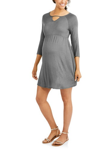 Maternity 3 4 Length Sleeve Fit n Flare Dress by