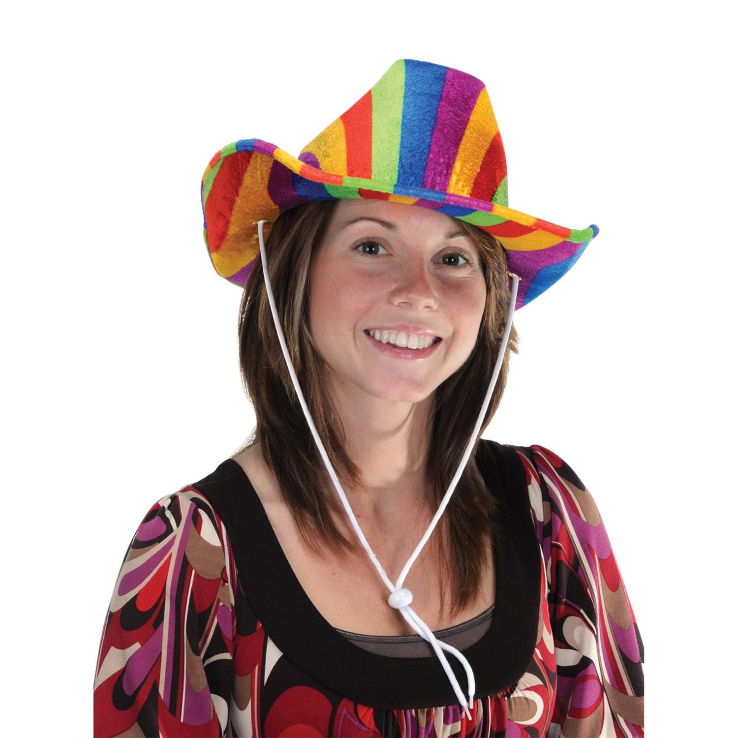 Pack of 6 Cowboy Themed Rainbow Hat Costume Accessories
