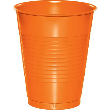 Touch of Color Plastic Cups, 16 oz, Sunkissed Orange, 20 Ct