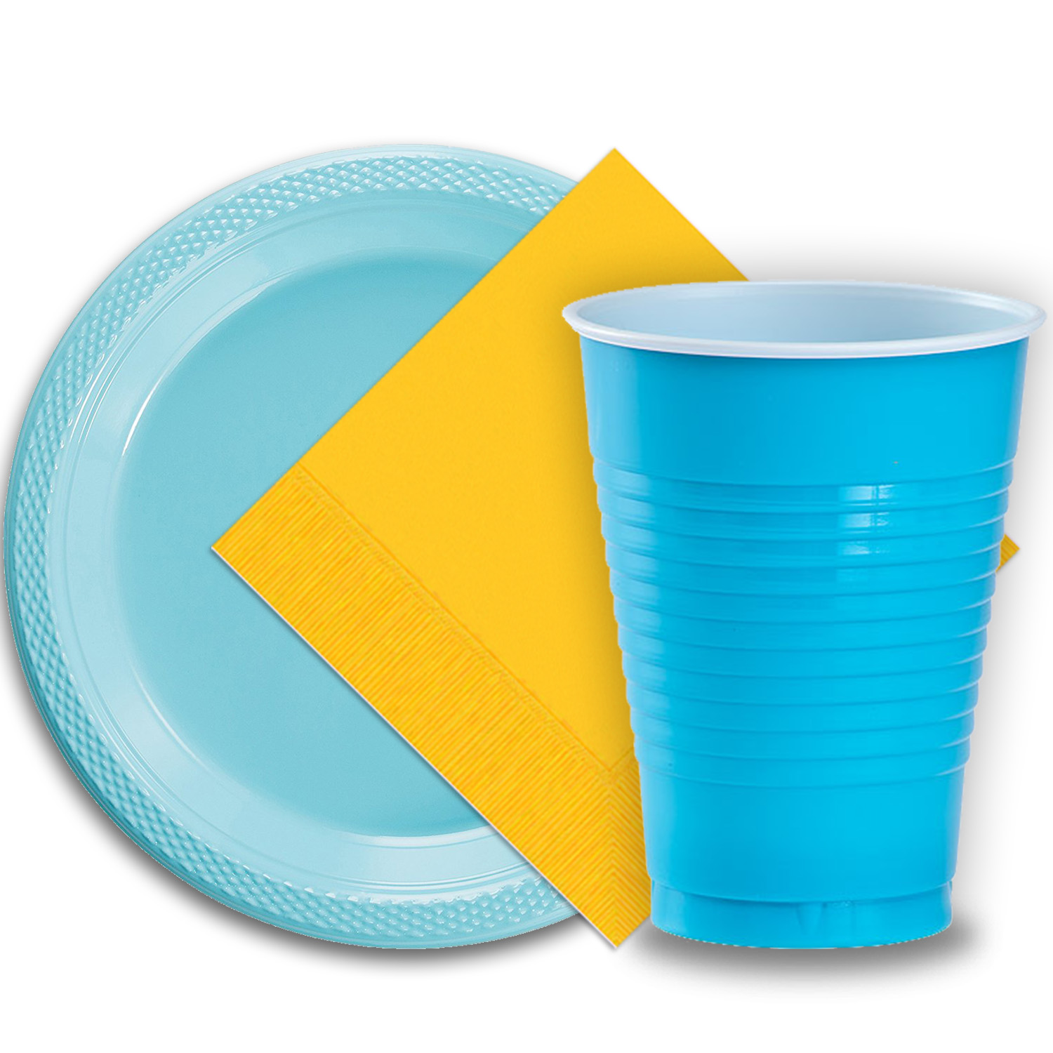 """50 Light Blue Plastic Plates (9""""), 50 Aqua Plastic Cups (12 oz.), and 50 Yellow Paper Napkins, Dazzelling Colored Disposable Party Supplies Tableware Set for Fifty Guests."""