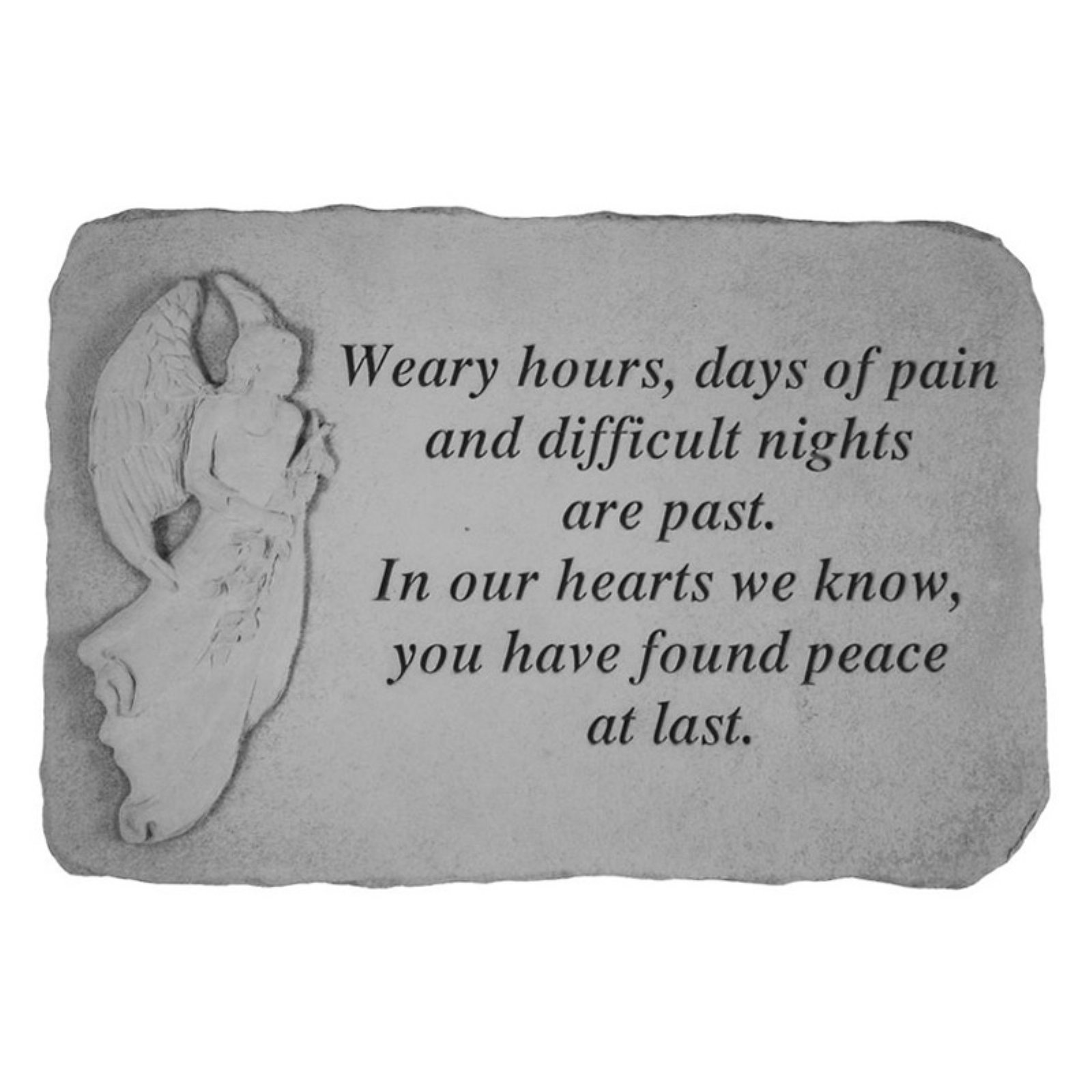 Weary Hours Days Of Pain Memorial Stone - Angel Design