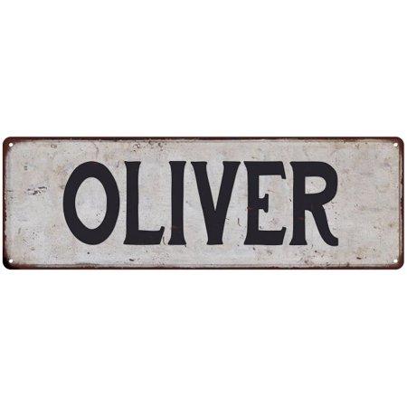 OLIVER Vintage Look Personalized Rustic Chic Metal Sign 6x18 (Vintage Oliver Sign)