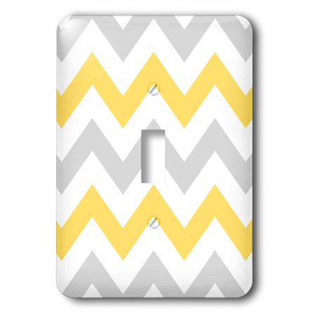 3dRose Yellow and Grey Chevron zig zag pattern - gray white