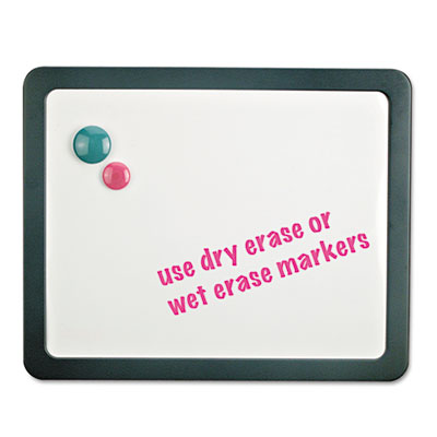 Recycled Cubicle Dry Erase Board, 15 7/8 x 12 7/8, Charcoal, with Three Magnets, Sold as 1 Each