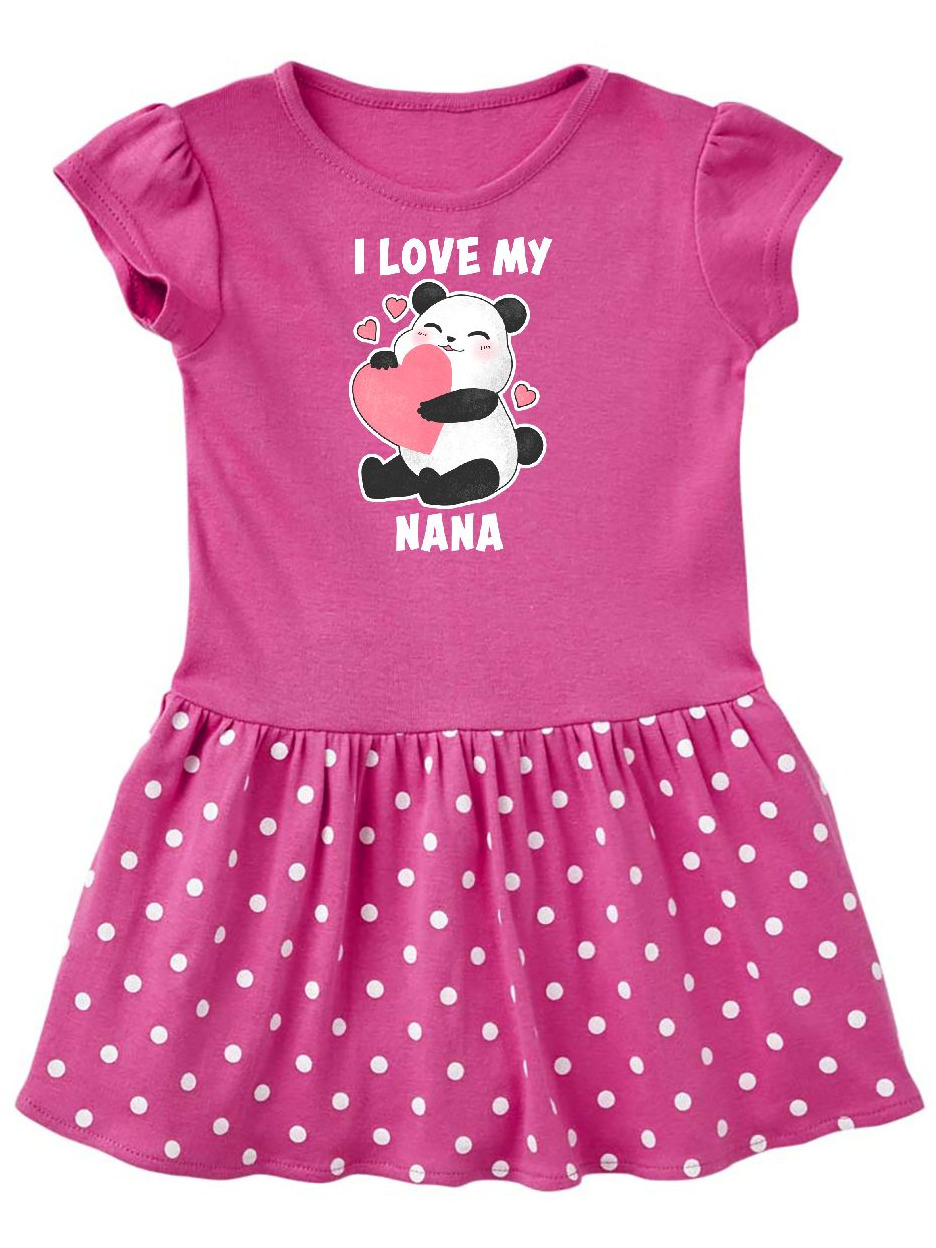 I Love My Nana with Panda Illustration Toddler Dress