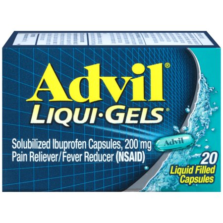 Advil Liqui-Gels (20 Count) Pain Reliever / Fever Reducer Liquid Filled Capsule, 200mg Ibuprofen, Temporary Pain Relief