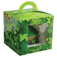 Lot Of 12 Camo Camouflage Design Cupcake Carrier Boxes