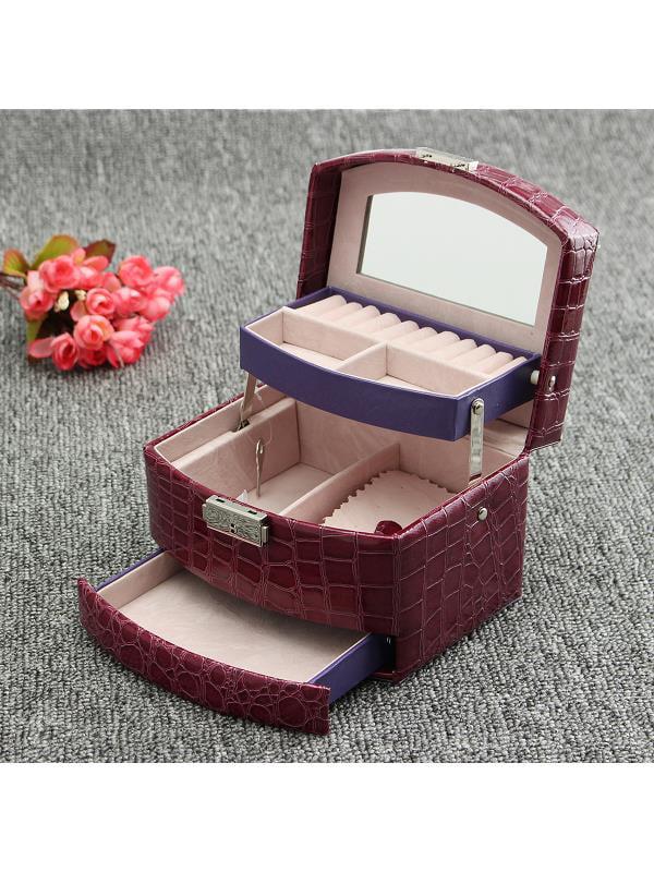 "Leather Jewelry Box Girls Jewelry Ring Display Organizer Mirrored Mini Travel Case Lockable 3 Layers , 6.29""x5.11""x4.52"""
