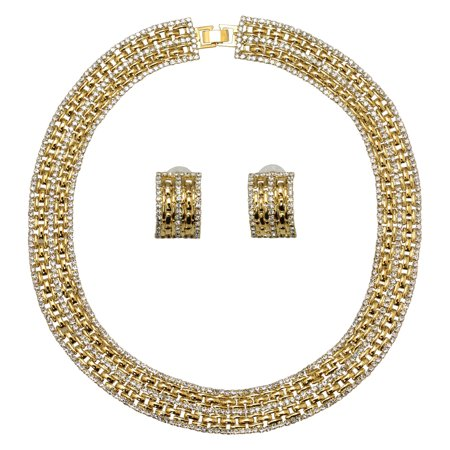 Faship Brilliant Clear Crystal 14K Gold Plated Panther Link Choker Necklace Earrings Set - Clear/14K Gold