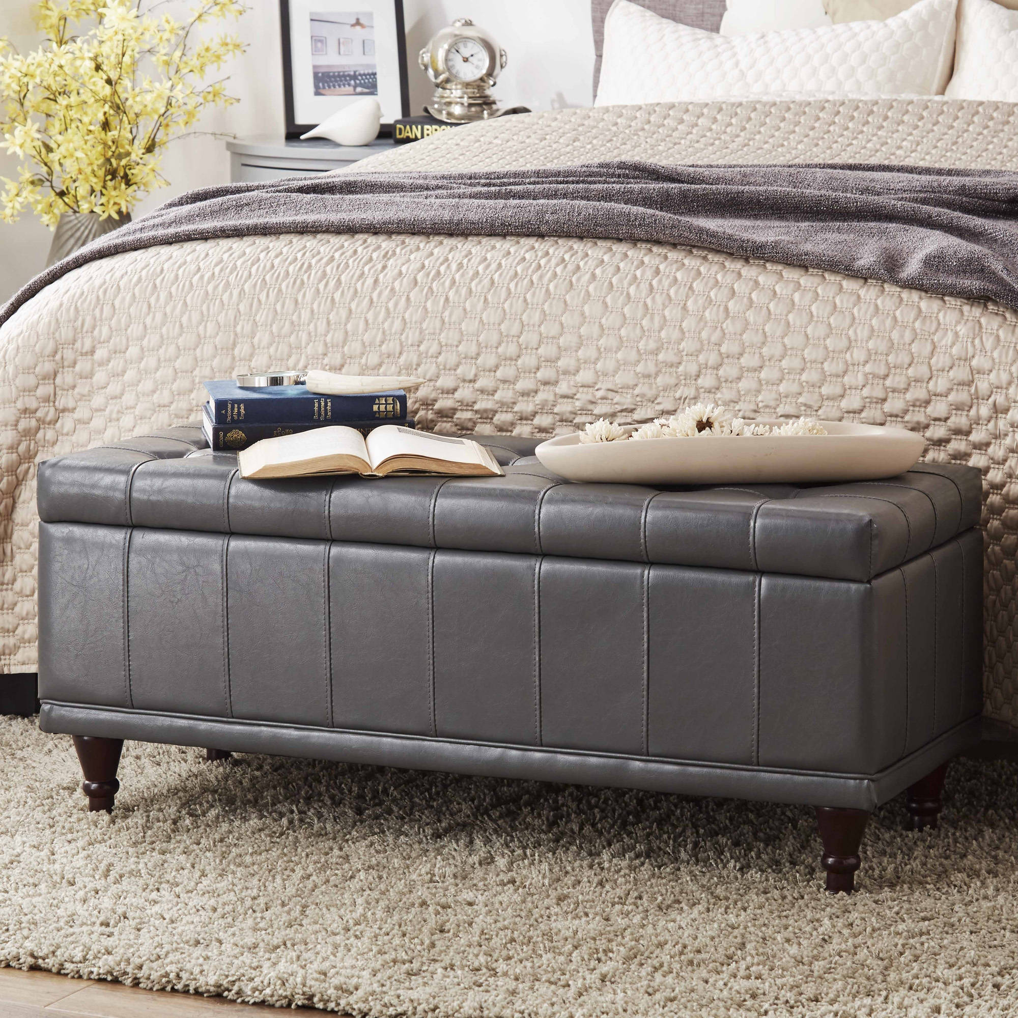 Chelsea Lane Lift-Up Faux Leather Storage Bench, Multiple Colors