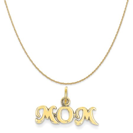 14k Yellow Gold Mom Charm on a 14K Yellow Gold Rope Chain Necklace, 18""