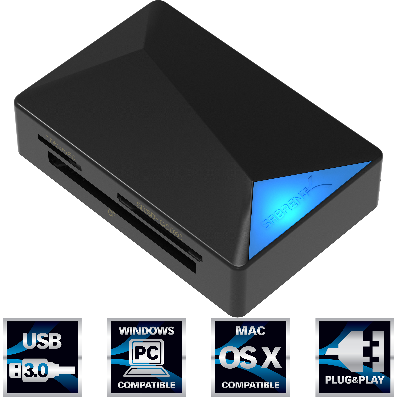 Sabrent USB 3.0 Super Speed 4 slot Memory Card Reader (CR-BMC3)