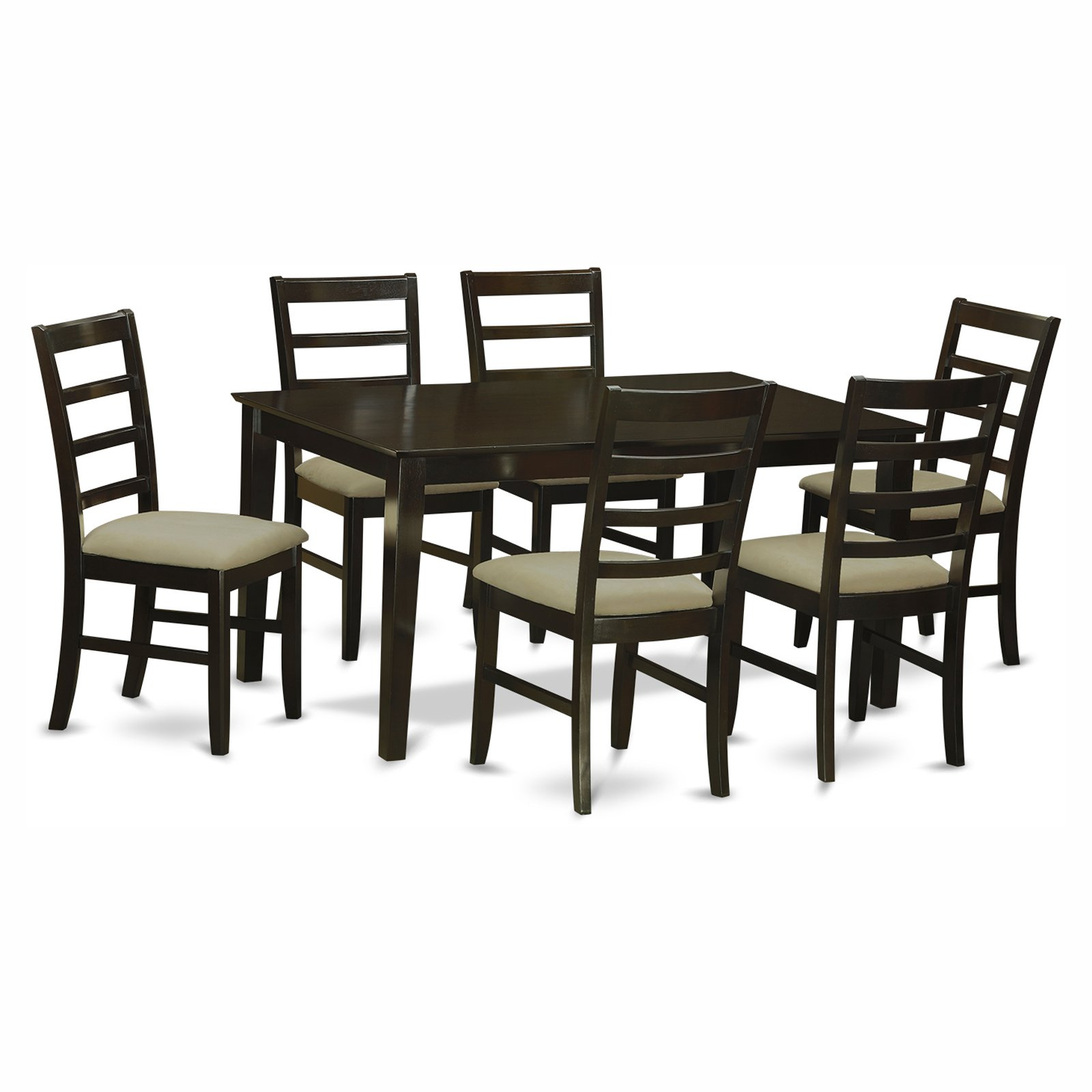 East West Furniture Capris 7 Piece Rectangular Dining Table Set with Parfait Microfiber Seat Chairs