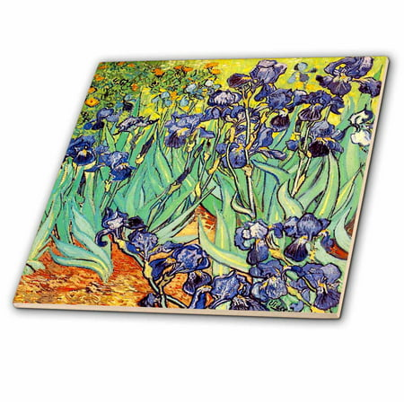 - 3dRose Irises by Vincent van Gogh 1889 - purple flowers iris garden - copy of famous painting by the master - Ceramic Tile, 4-inch