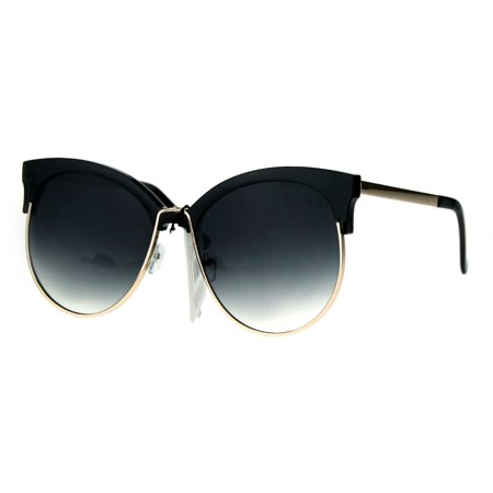 4bda0188fad Womens Color Mirror Overisze Round Cateye Half Rim Retro Sunglasses Black  Smoke - Walmart.com