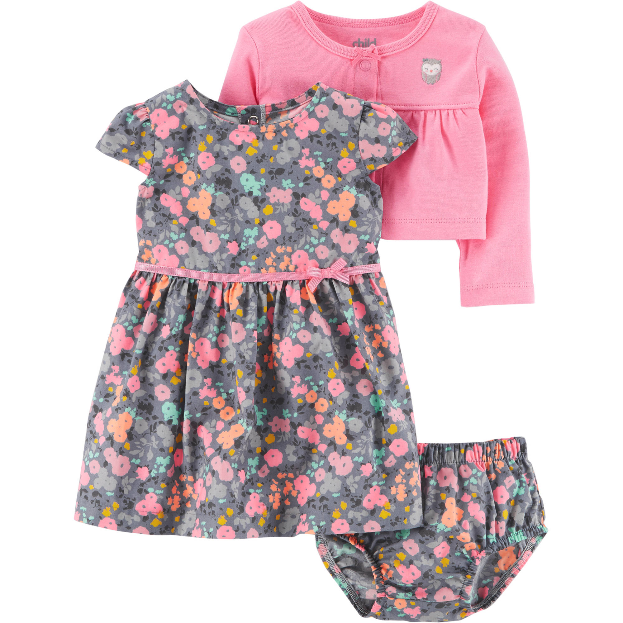 Child of Mine by Carter's Baby Girl Cardigan, Dress, and Diaper Cover, 3pc Outfit Set