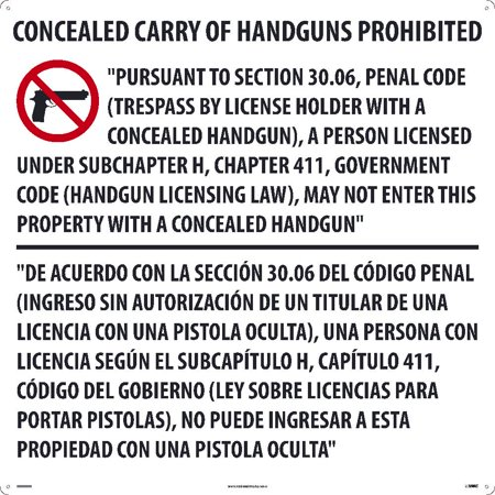 Nmc Signs M460acp  Texas Concealed Handgun Law Sign   30 X 30  Acp  125