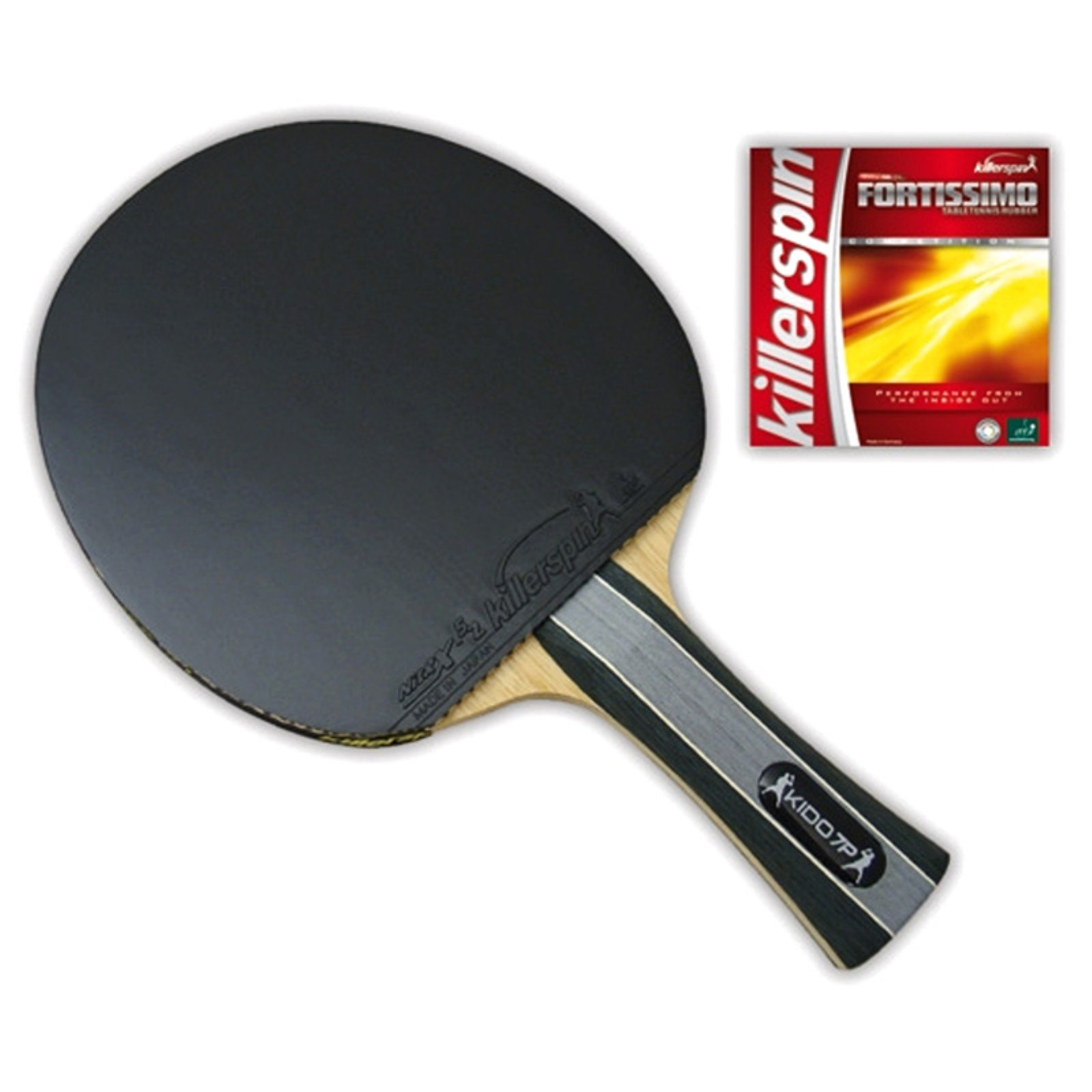 Killerspin Kido 7P Premium Ping Pong Paddle – Professional Table Tennis Racket| 7-Ply Wood Blade, Fortissimo Competition Rubbers| Straight Handle Ping Pong Bat, ITTF Tournament Approved| Black/Red