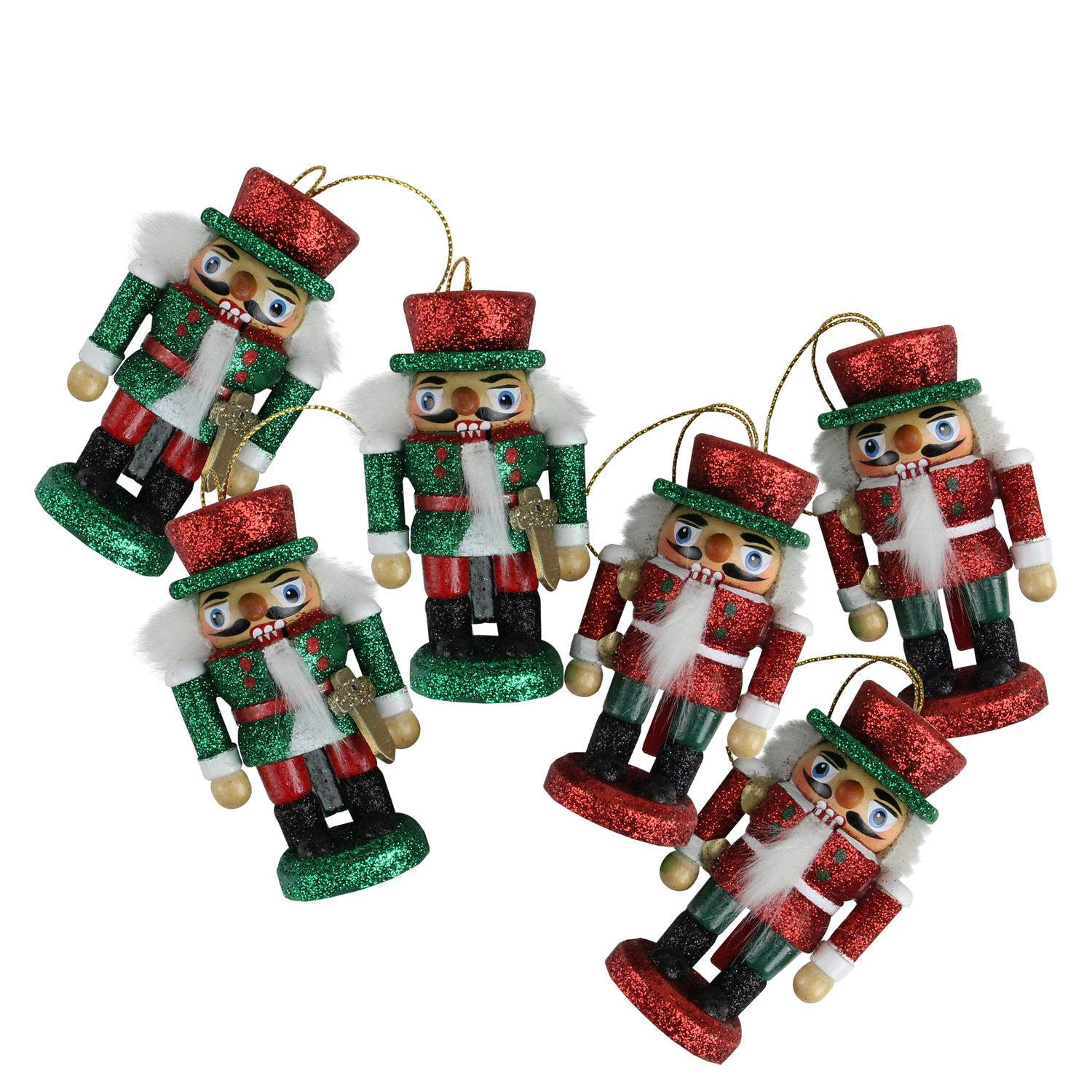 Pack of 6 Hollywood Red and Green Glittered Wooden Nutcracker Card ...