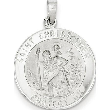 14k White Gold Saint Christopher Medal (21x28mm) Pendant / Charm - Usa Medals