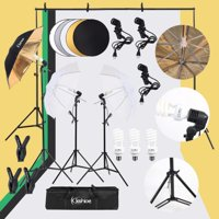 """Kshioe 45W Photo Photography Umbrella Lighting Kit Studio Light Bulb Non-Woven Fabric Backdrop Stand with 43"""" 110cm Five-in-One Folding Reflector Set"""