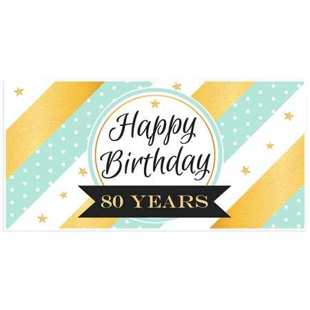 Gold and Light Teal Striped 80th Birthday Banner (80th Birthday Banners)