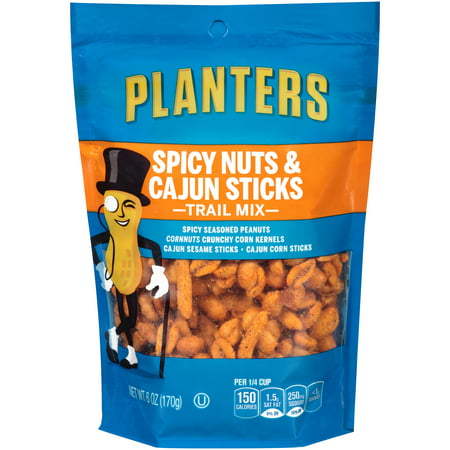 (2 Pack) Planters Spicy Nuts And Cajun Stick Trail Mix, 6 oz Pouch - Trail Mix For Halloween