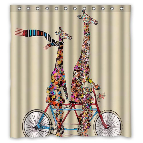 GreenDecor Bigger And Giraffe Wear Scarf Ridding Tandem Bicycle Waterproof Shower Curtain Set with Hooks Bathroom Accessories Size 66x72 inches