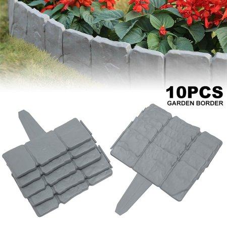 10pcs Garden Fence Grey Stone Effect Lawn Edging Plant Bordering Cobblestone Yard Border
