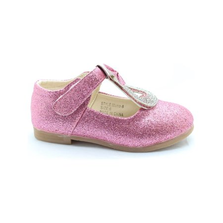 Little Girls Pink Glitter Rhinestone Bow Adorned Dress Shoes
