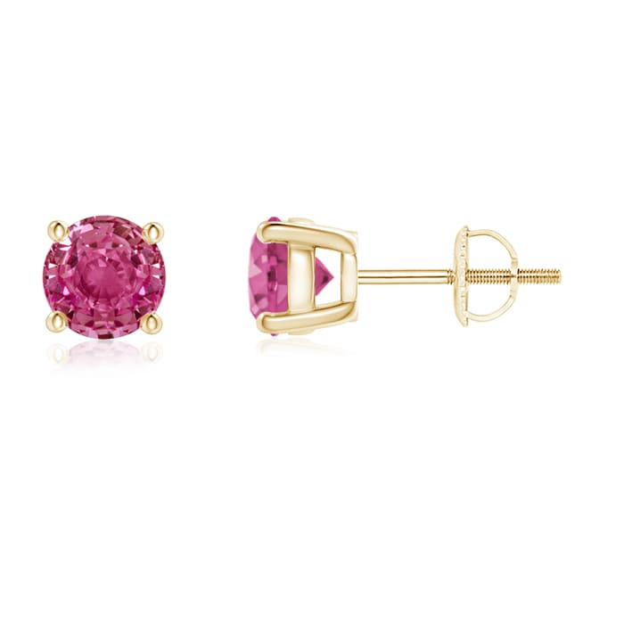 Angara Basket-Set Round Pink Tourmaline Stud Earrings in White Gold beuAyprhb