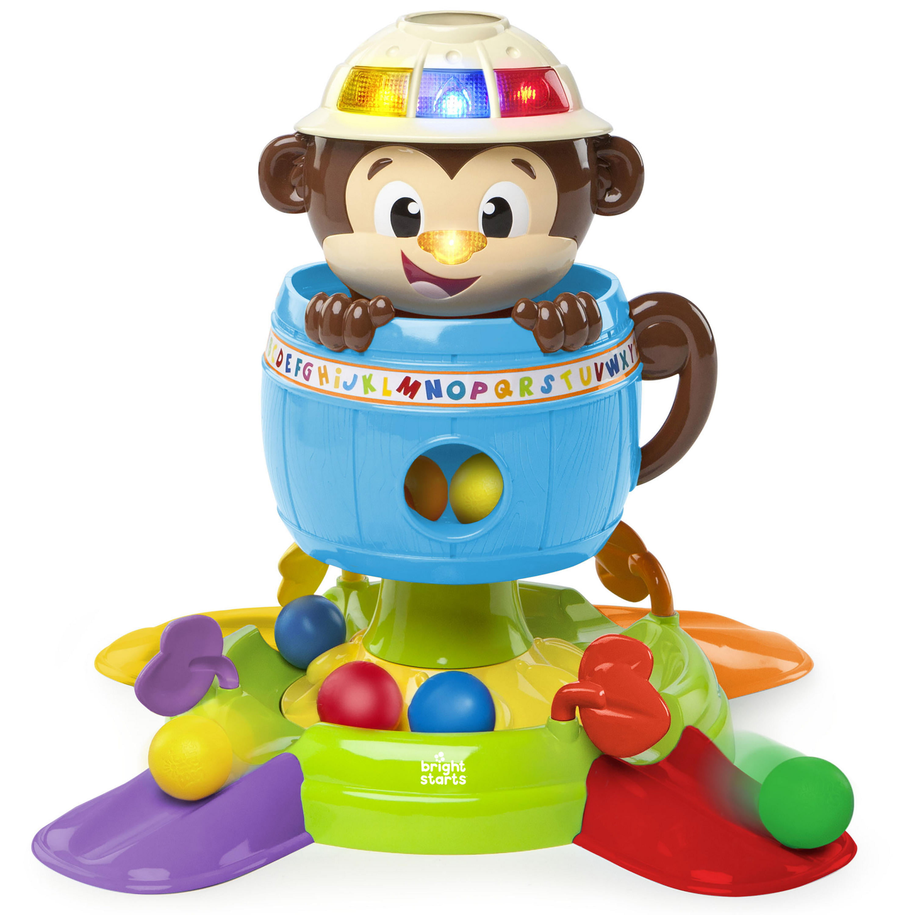 Bright Starts Hide 'n Spin Monkey Ball Popper Musical Activity Toy by Bright Starts