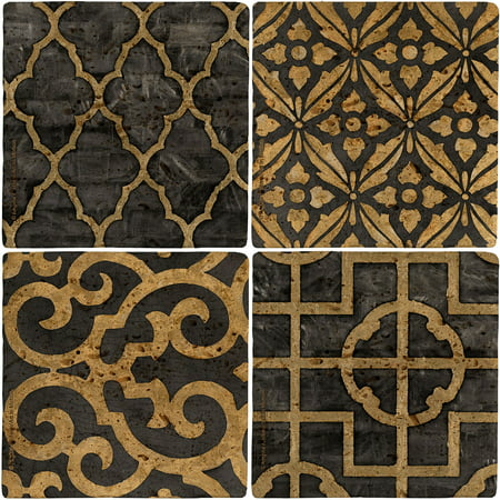 Thirstystone Ambiance Drink Coasters Set, Ebony, Travertine A/four