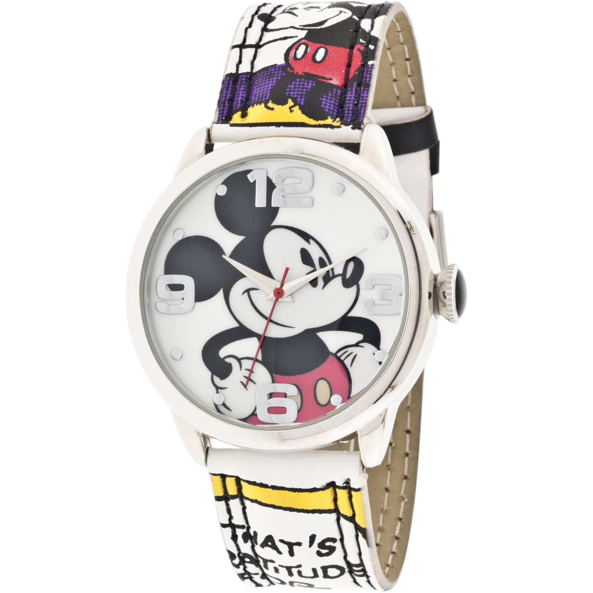 Mickey Mouse Silver Metal Case Character-Printed Dial Analog Watch, Mickey Mouse Comic Strip Printed Strap