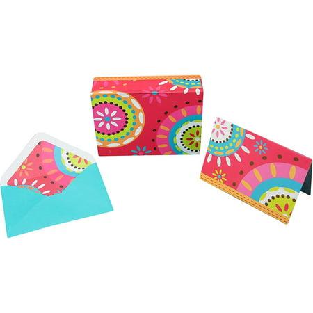 "10 Notecards & 11 Coordinating Envelopes w/ Keepsake Box (Batik ) 5"" X 3.5"" Card Size - Keepsake Box With Colorful Design & Magnetic Lid"