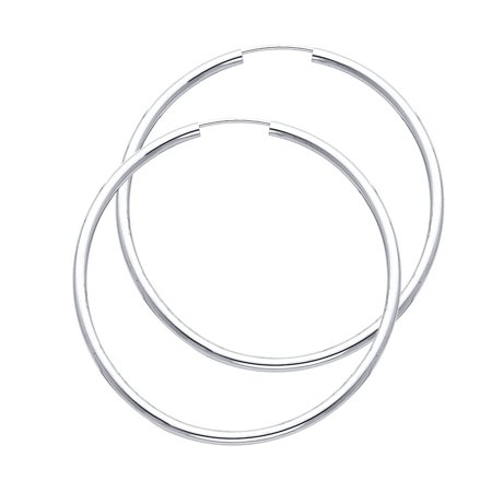 Bright Polisted Large Circle Endless Hoop in 2mm Thickness 14k White Gold Round 1 3/4
