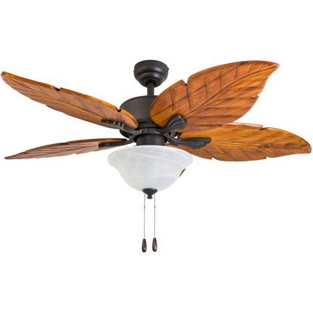 Prominence Home 50676-35 Misty Peak Tropical 52-Inch Aged Bronze Indoor Ceiling Fan, LED Bowl Light with Dark Cherry Hand Carved Wood Blades