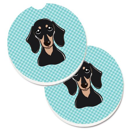 Checkerboard Blue Smooth Black & Tan Dachshund Set of 2 Cup Holder Car Coaster - image 1 de 1