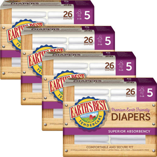 Earth's Best - TenderCare Chlorine-Free Diapers, Size 5, 26 Count (Pack of 4)